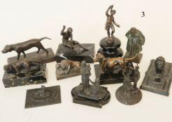 Konvolut 11 alte KleinbronzenBronzeguss und Metallguss bronziert. Teils auf Marmorsockel. 10-18