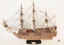 "Segelschiff ""Soleil Royal"" Frankreich, 1669 MuseumsmodellHandgearbeitets Modell aus Holz, Messi"