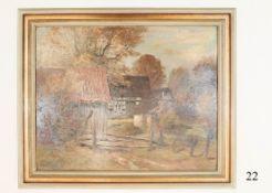 """Ölgemälde, Bauernhof in WestfahlenÖl auf Malkarton. Herbststimmung. Signiert """"G.Roeder"""" 1931"""