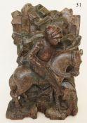 Holzplastik des Hl.St.Georg, Ende 14.Jhdt. Der Schutzpatron der Reiter. Holz, geschnitzt. Südd