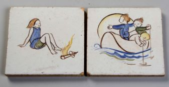 TWO HAND-PAINTED TILES OF CHILDREN AT PLAY, MID 20TH CENTURY