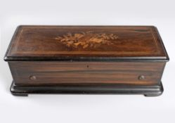 A SWISS ROSEWOOD, EBONISED AND INLAID MUSICAL BOX, B. A. BREMOND, GENEVA, 19TH CENTURY