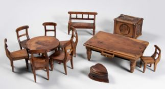 A COLLECTION OF ANGLO-BOER PRISONER-OF-WAR MINIATURE FURNITURE, ST HELENA, CIRCA 1901