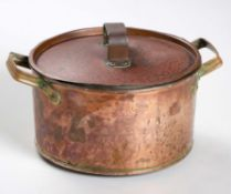 A COPPER POT AND COVER