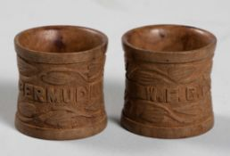 A PAIR OF ANGLO-BOER PRISONER OF WAR WOODEN NAPKIN RINGS