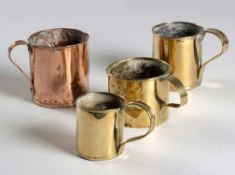 THREE BRASS MUGS, 19TH CENTURY
