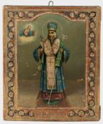 AN UNUSUAL RUSSIAN ICON OF AN ORTHODOX BISHOP, 19TH CENTURY