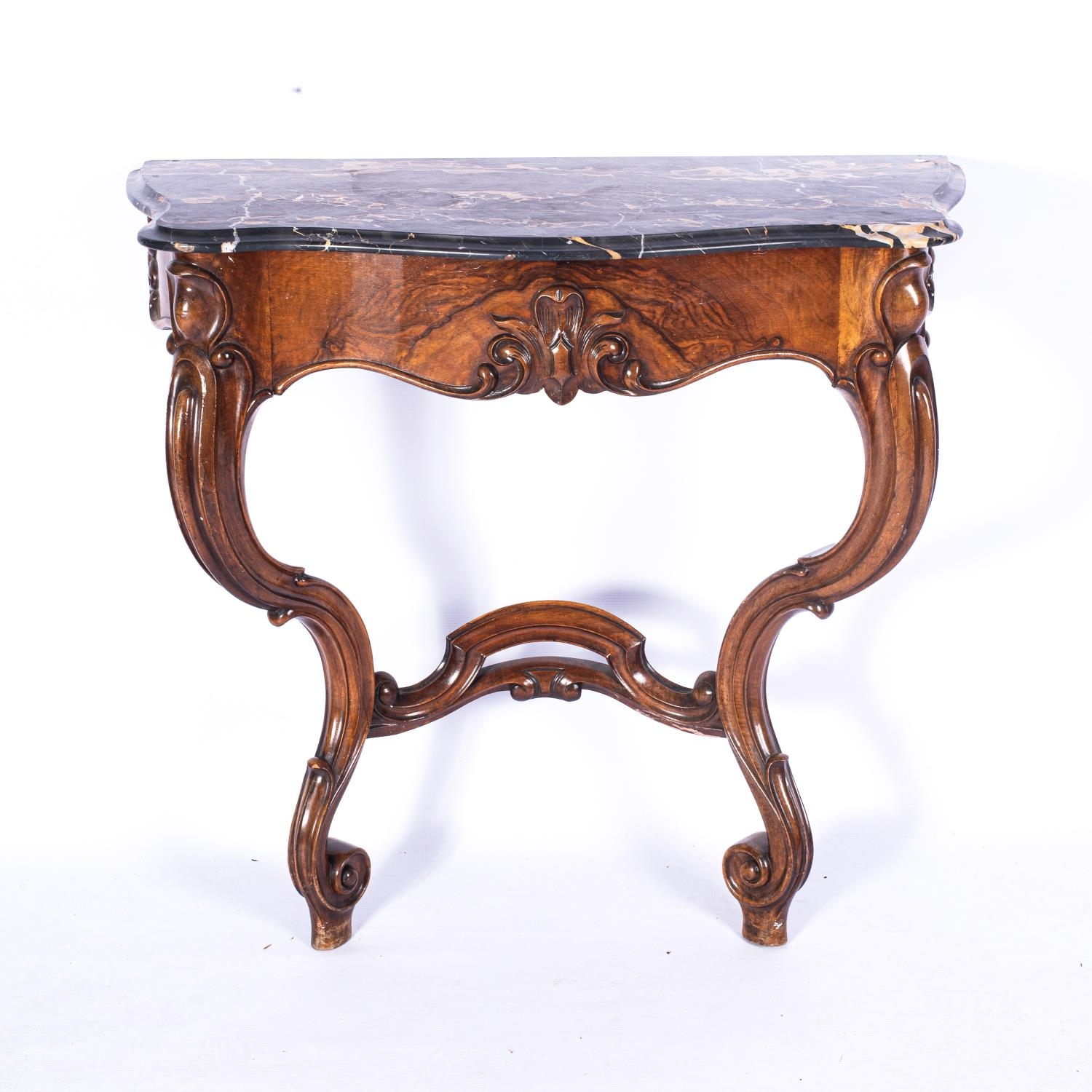 A VICTORIAN WALNUT CONSOLE TABLE