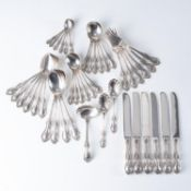 A SET OF AMERICAN SILVER FLATWARE, LATE 20TH CENTURY