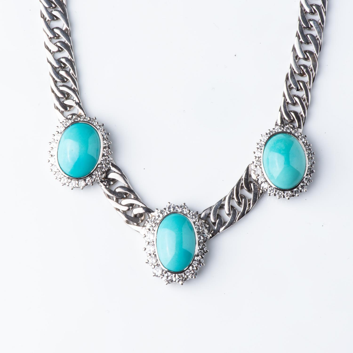 A DIAMOND AND TOURQUOISE NECKLACE - Image 2 of 2