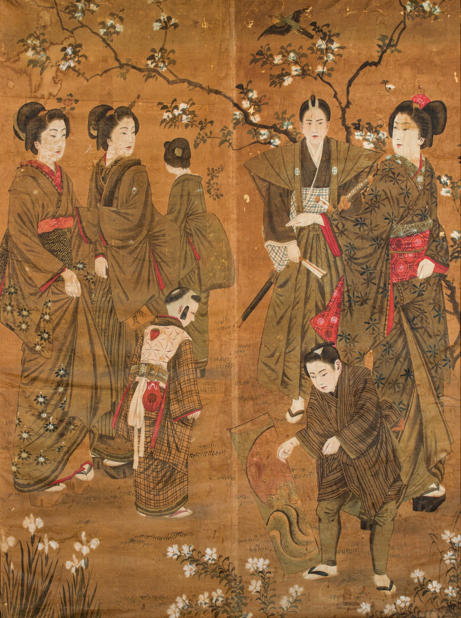 A JAPANESE INK AND WATERCOLOUR ON FABRIC 'GEISHAS AND SHOGUN' PAINTING, MEIJI PERIOD, 1868 - 1912