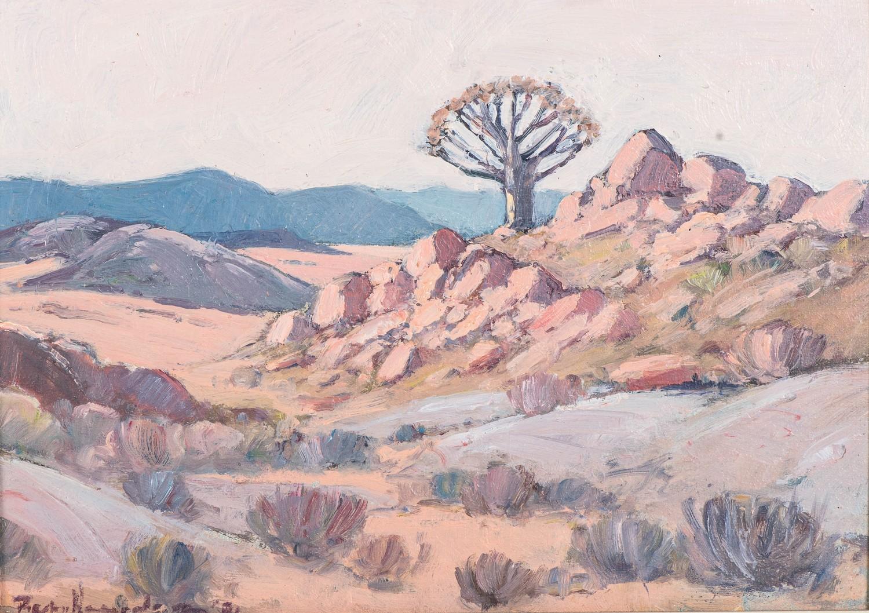 Piet van Heerden (South Africa 1917 ? 1991):ROCKY LANDSCAPE WITH DISTANT TREE
