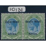 SOUTH WEST AFRICA 1923 KGV 10/- BLUE & OLIVE-GREEN
