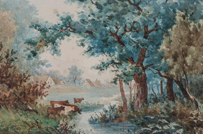 Cesare Tiratelli (Italy 1864 - 1933): COWS ALONGSIDE A RIVER