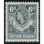 NORTHERN RHODESIA 1953 QEII 6d GREY-BLACK