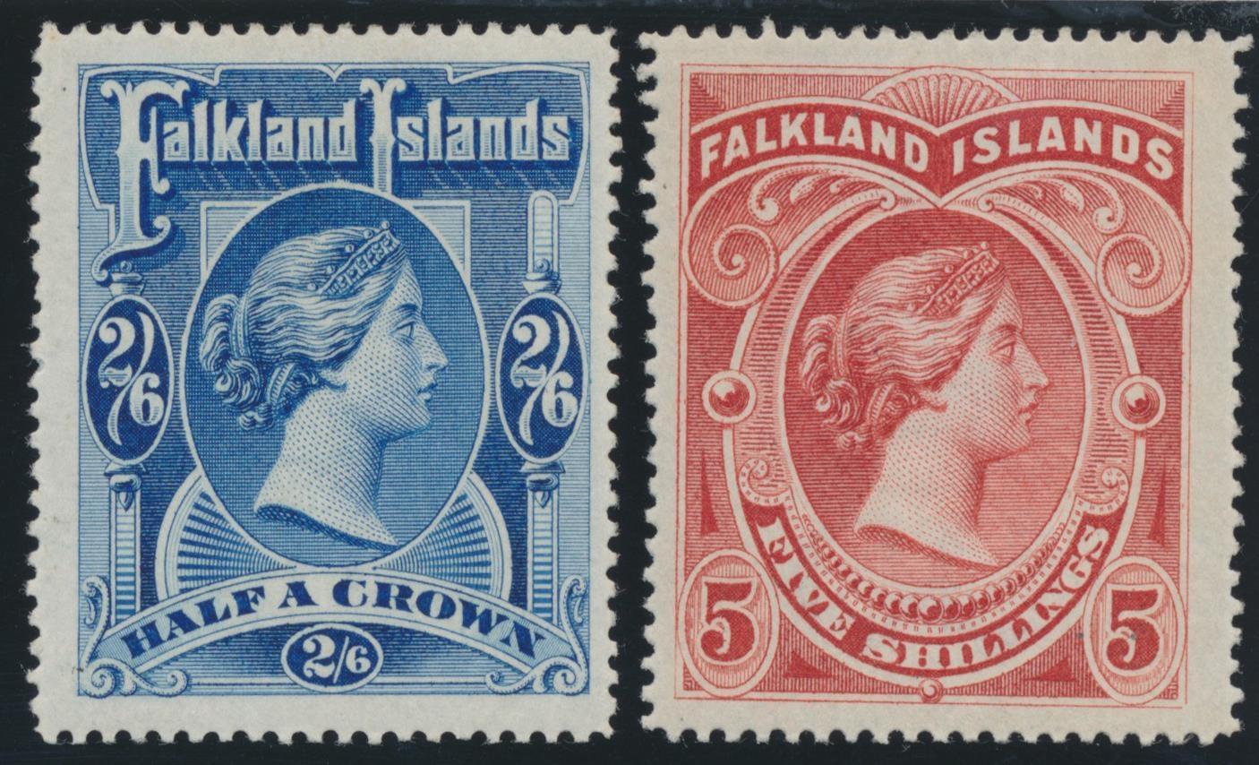 FALKLAND ISLANDS 1898 QV 2/6d. & 5/-