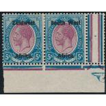 SOUTH WEST AFRICA 1923-1926 KGV 5/- PURPLE & BLUE