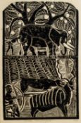 John Ndevasia Muafangejo (Angola 1943 ? 1987): A FRIEND OF DOGS WHO CAN HUNT THE KUDU WITH THEM