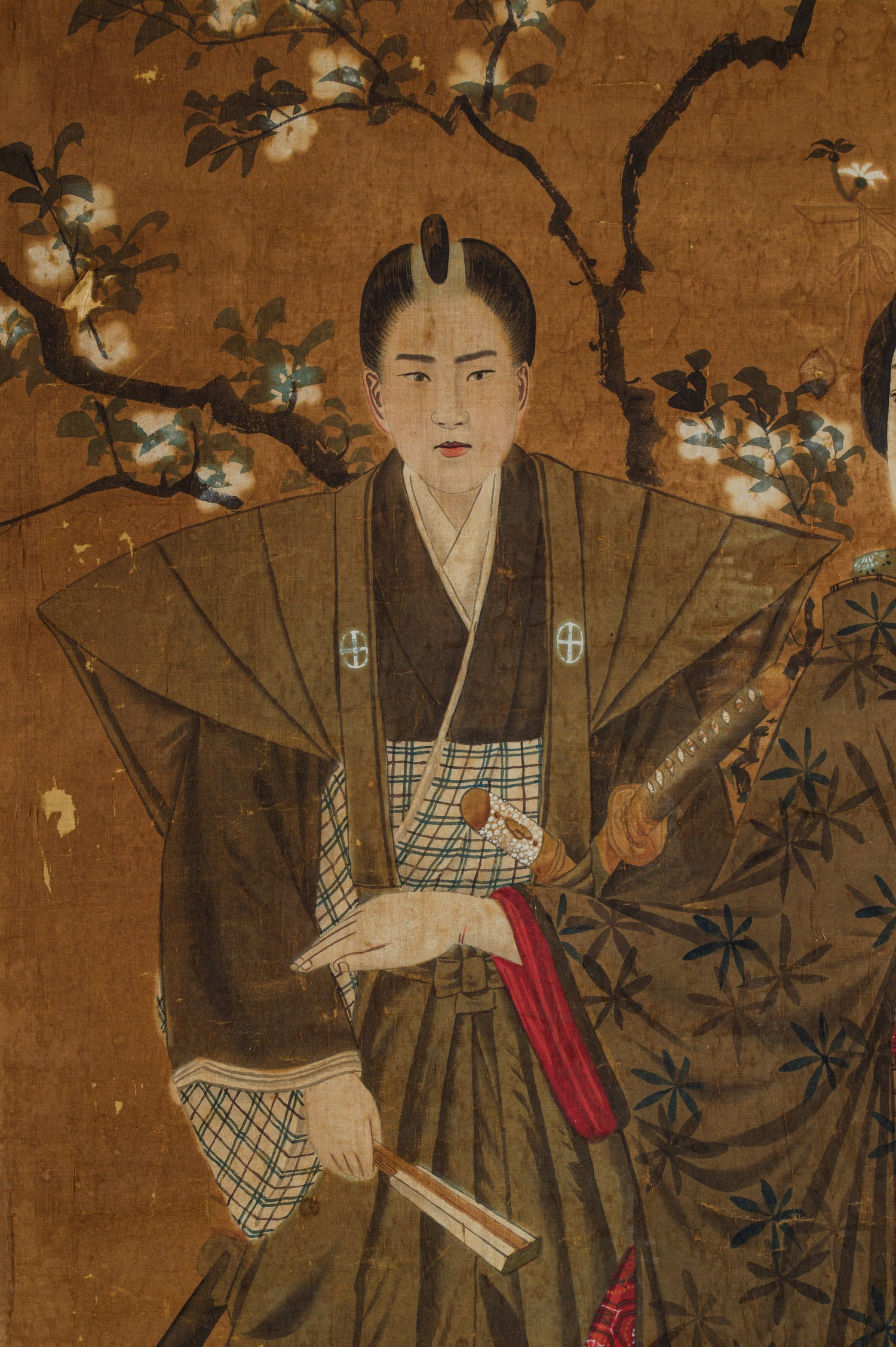 A JAPANESE INK AND WATERCOLOUR ON FABRIC 'GEISHAS AND SHOGUN' PAINTING, MEIJI PERIOD, 1868 - 1912 - Image 3 of 3