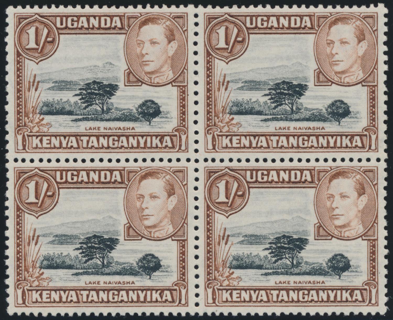 KENYA, UGANDA & TANGANYIKA 1942 KGVI 1/- BLACK & BROWN