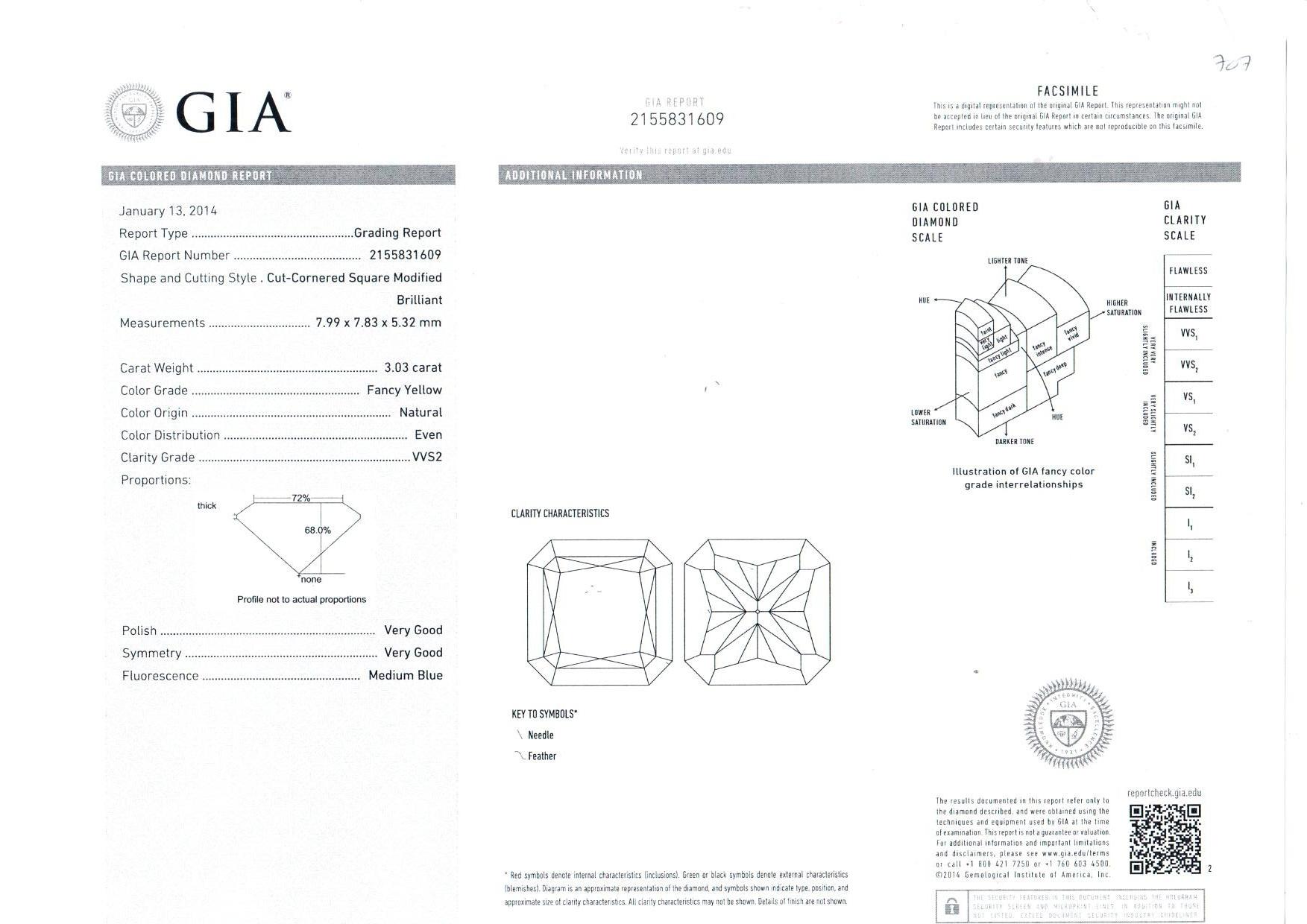 A CERTIFIED 3,03 CARAT DIAMOND - Image 2 of 2
