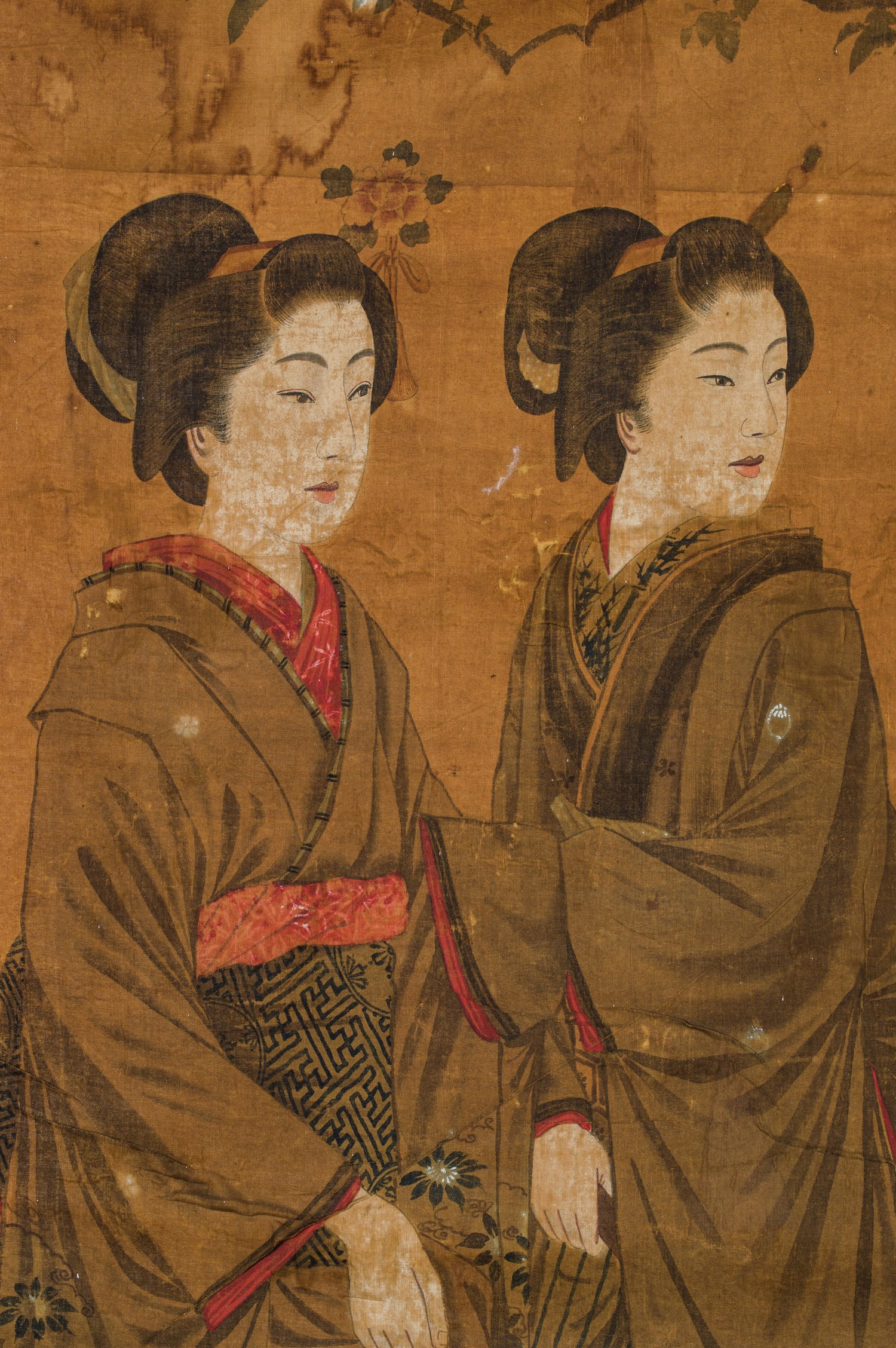 A JAPANESE INK AND WATERCOLOUR ON FABRIC 'GEISHAS AND SHOGUN' PAINTING, MEIJI PERIOD, 1868 - 1912 - Image 2 of 3