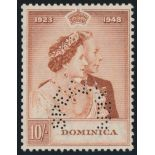 DOMINICA 1948 KGVI ROYAL SILVER WEDDING 10/- RED-BROWN