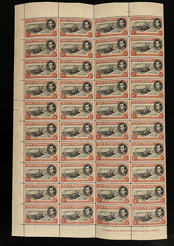 ASCENSION 1949 1½d. BLACK & VERMILION