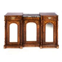 A VICTORIAN WALNUT AND INLAID SIDE CABINET