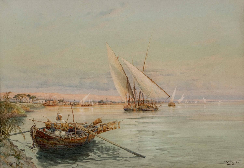 William Ashton (England 1904 ? ): THE NILE LOOKING TOWARD HELWAN FROM MAADI