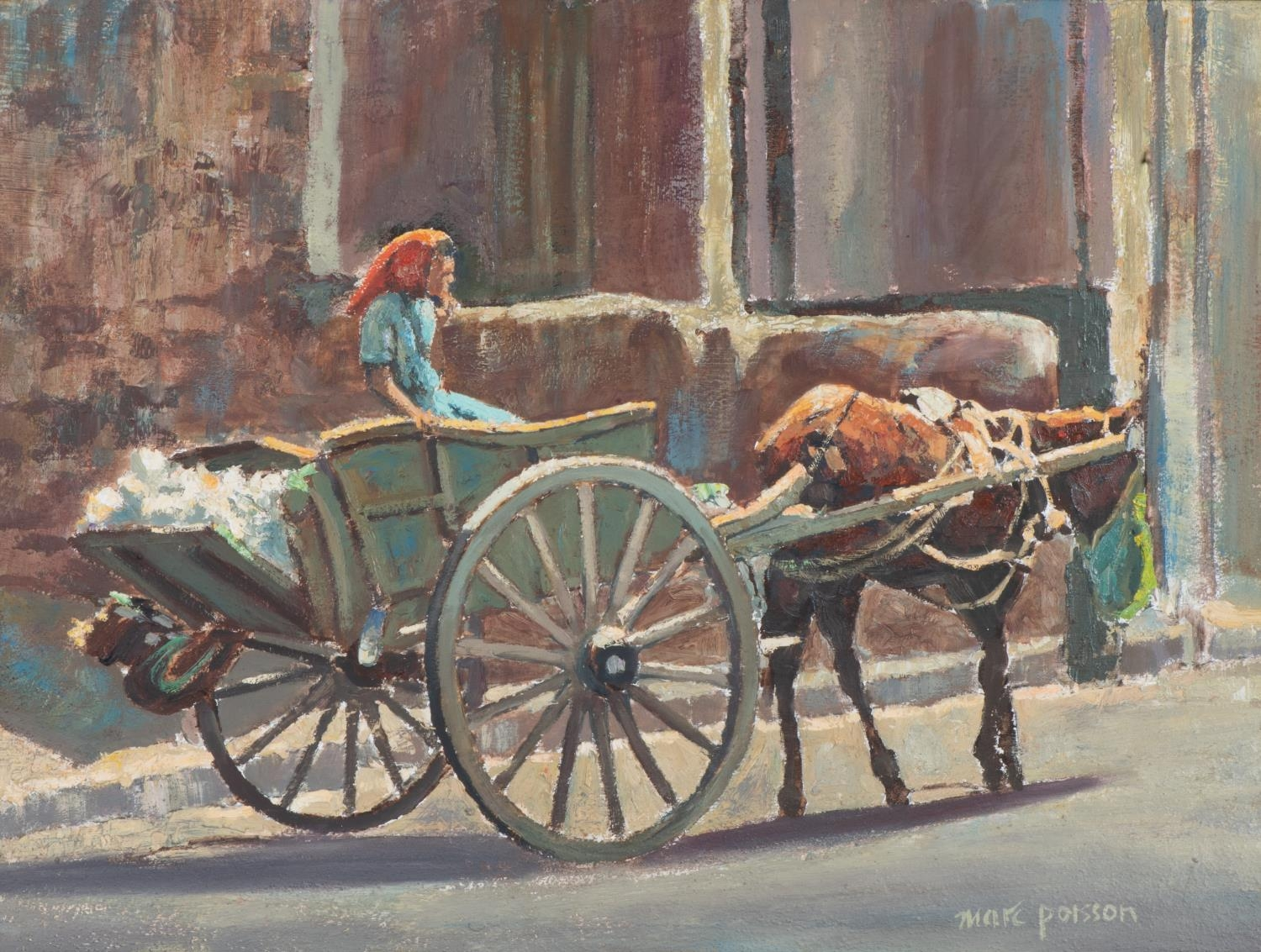 Marc Poisson (South Africa 1952 ? ): WOMAN ON DONKEY CART