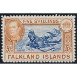 FALKLAND ISLANDS 1938 KGVI 5/- INDIGO & PALE YELLOW-BROWN