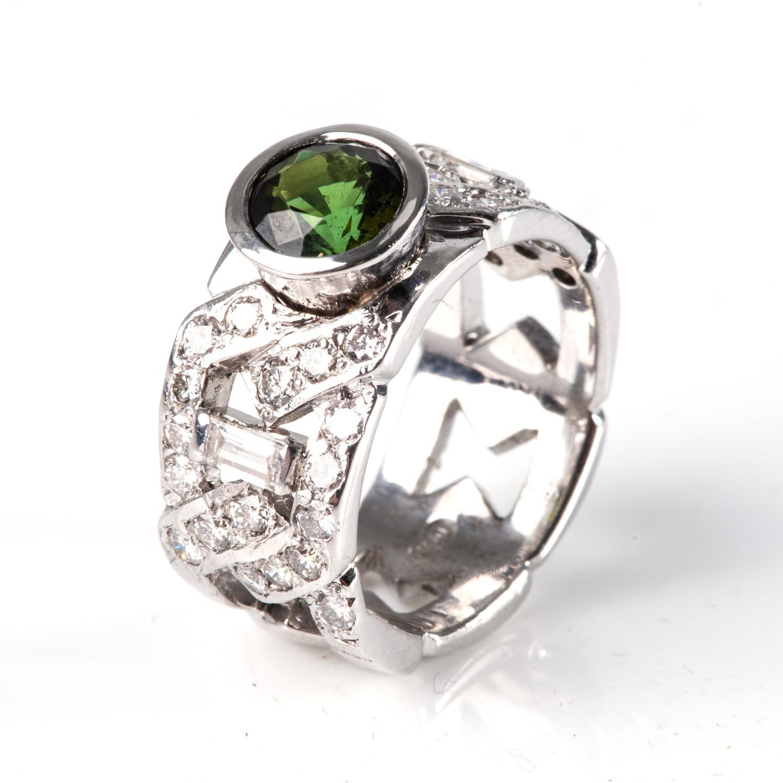 A DIAMOND AND GEMSTONE DRESS RING - Image 2 of 3