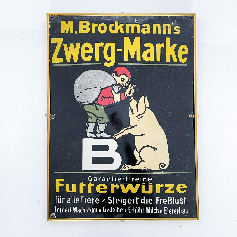 AN ENAMEL M. BROCKMANN'S ZWERG-MARKE SIGN, CIRCA 1930 - Image 2 of 2