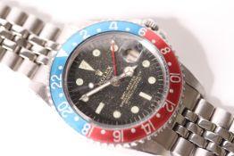 GENTLEMENS VINTAGE ROLEX GMT POINTED CROWN GUARD WRISTWATCH REF 1675 CIRCA 1963 W/BOX, circular