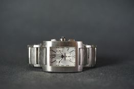 GENTLEMENS MONTBLANC CHRONOGRAPH WRISTWATCH, rectangular silver triple register dial with silver
