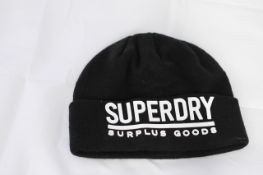 SUPERDRY BEANIE HAT, Colour : BLACK, AGE: UNKNOWN, SIZE: ONE SIZE, CONDITION GRADE: 1 VERY GOOD * TO