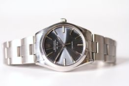 VINTAGE ROLEX OYSTER PERPETUAL AIR KING REFERENCE 5500 CIRCA 1983, dark grey radial dial, baton hour
