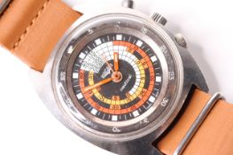 VINTAGE VULCAIN NAUTICAL, circular dial with multiple inner tracks in red and orange, red hands,