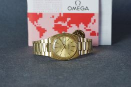 GENTLEMENS OMEGA SEAMASTER AUTOMATIC WRISTWATCH W/ PAPERS, circular gold dial with hour markers