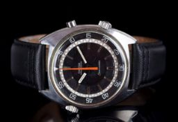 GENTLEMEMS OMEGA SEAMASTER CHRONOSTOP WRISTWATCH REF. 145.008, circular black pie pan dial with