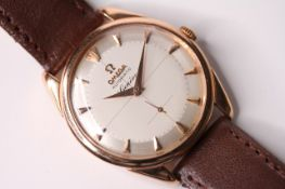 FINE OMEGA GENEVE AUTOMATIC REFERENCE 2981 -2 , circular quarted dial, rose gold dagger hour