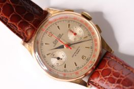 VINTAGE 1950S EXACTUS CHRONOGRAPH, circular dial, twin register, red center seconds, dagger and