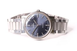 VINTAGE OMEGA GENEVE REFERENCE 135.070, circular blue dial, baton hour markers, outer minute