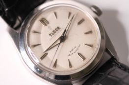 VINTAGE 1960s TUDOR OYSTER PRINCE REF 7809, circular white dial, silver arrow head hour markers,