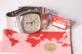 NOS 1983 OMEGA SEAMASTER QUARTZ WITH PAPERS AND SWING TAG REFERENCE 1342, silver cushion dial,