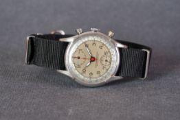GENTLEMENS PIERCE CHRONOGRAPH WRISTWATCH, circular two tone silver twin register dial with arabic