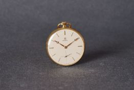 VINTAGE OMEGA 9CT GOLD POCKET WATCH, circular cream dial with gold hour markers and hands,
