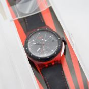 *TO BE SOLD WITHOUT RESERVE* GENTLEMAN'S SWATCH SISTEM 51 AUTOMATIC RED, REF. SUTR400, BOX AND