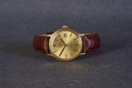 GENTLEMENS OMEGA AUTOMATIC GENEVE DATE WRISTWATCH REF. 1660098 CIRCA 1970s, circular gold dial